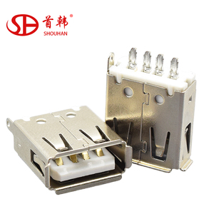 Electrical dual usb panel mount connector,vertical usb female connector shell, usb connector