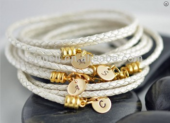 Initial Bracelets Personalized Gold Bridesmaid