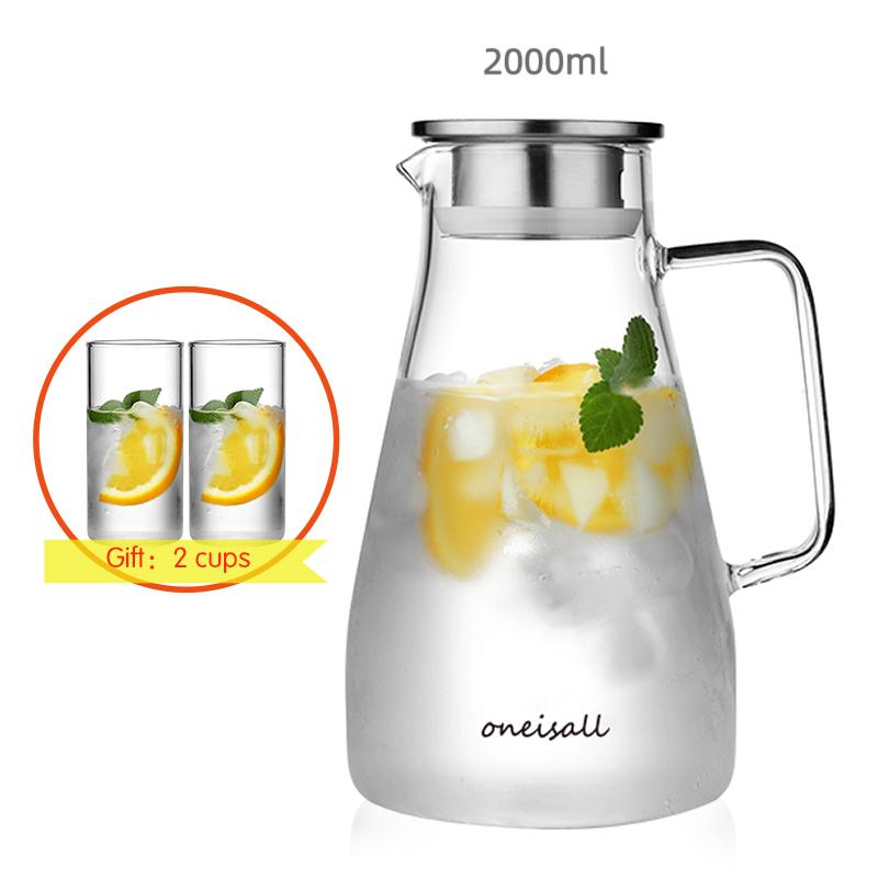 Боросиликатное стекло кувшин чайник для воды термостойкий контейнер для сока с крышкой из нержавеющей стали фильтр BPA бесплатно 1.5L 1.8L 2L(Китай)