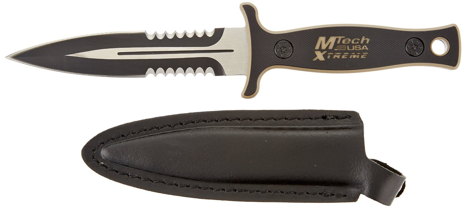 MTech USA Xtreme MX-8059 Series Fixed Blade Tactical Knife, Two-Tone Half-Serrated Blade, 9-Inch Overall