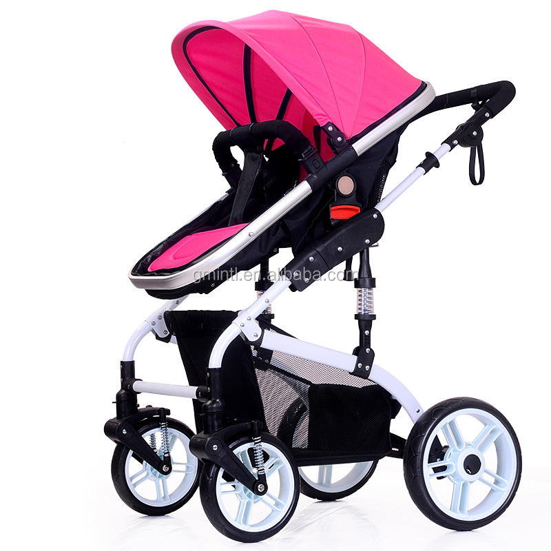 High landscape fashion stroller/single hand folding baby stroller/baby stroller with big basket