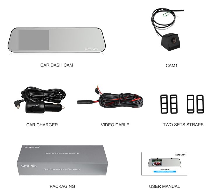 Dual lens 1080P super image manual car dvr camera car mirror dash cam