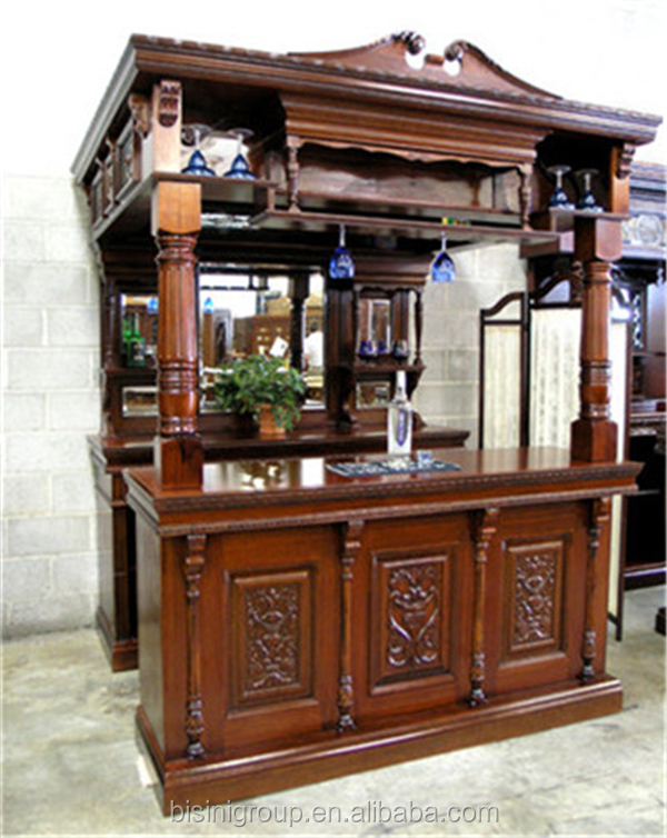 Replica Victorian Carved Style Wooden Bar Furniture Pub Bar Tavern Home Bar Cabinet With Wine