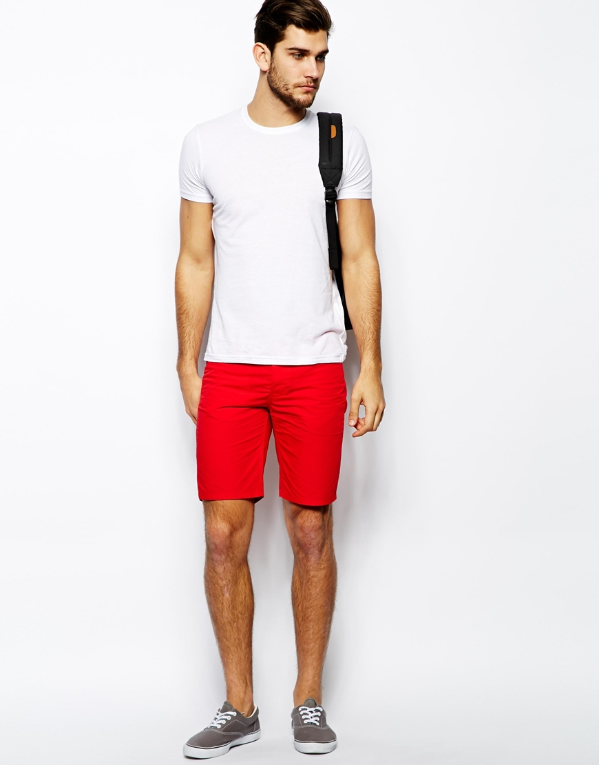 Slim Fit Red Color Shorts Custom Designs Cotton Twill Chino Shorts ...