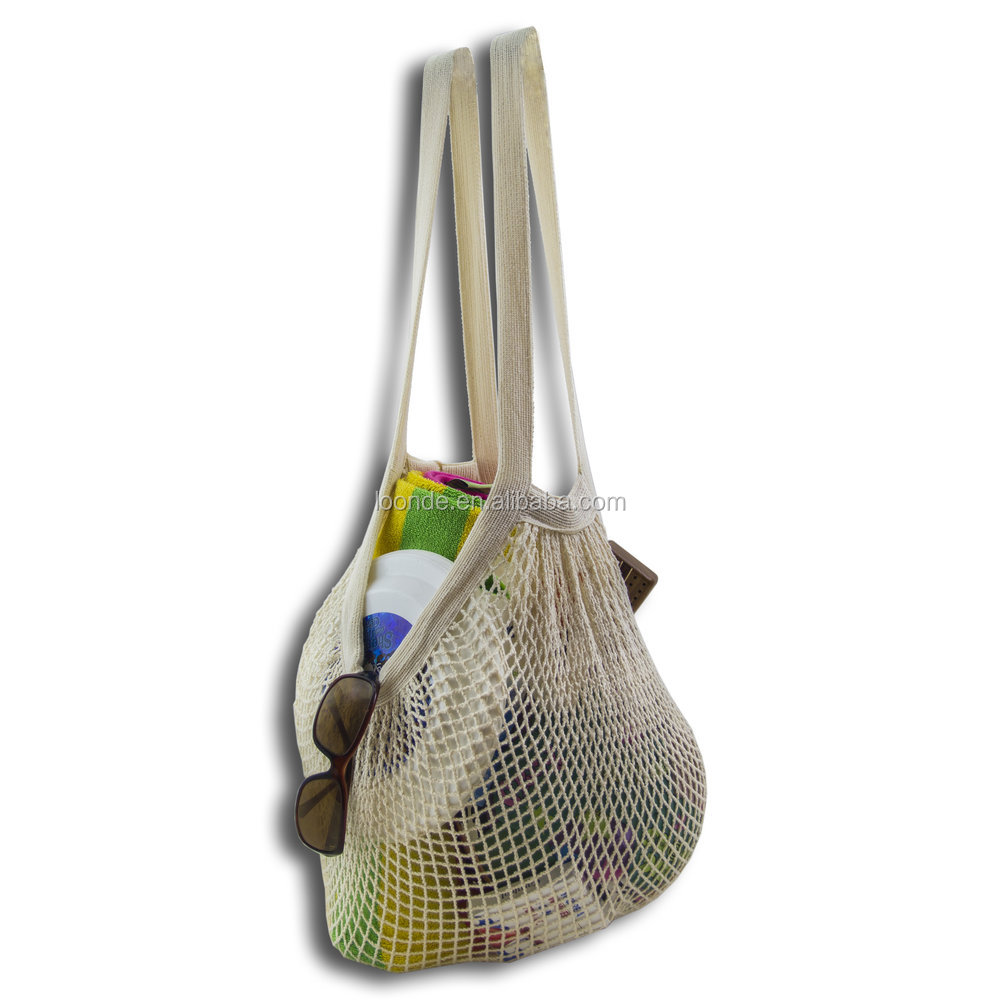 Durable and strong cotton mesh market or beach string bag