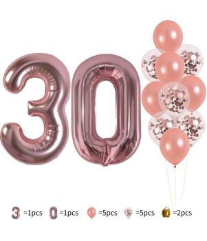 14 PCS 40 Inch Rose Gold Number 30 Foil Mylar Balloons Set-30th birthday Party Decorations Rose Gold Party Supplies