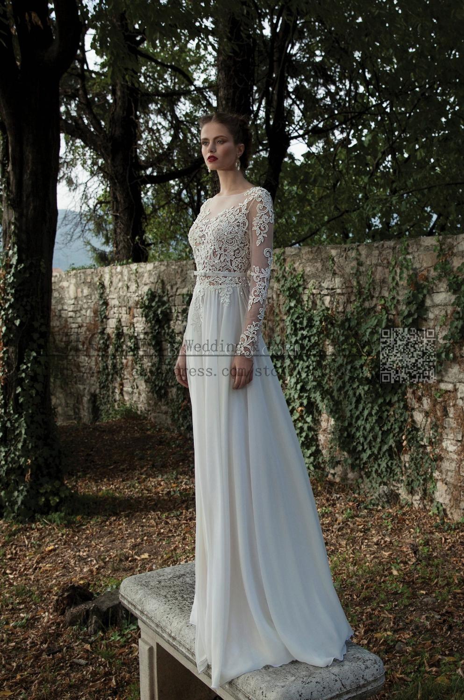 Hot Sexy Beach Cheap Wedding Dress Long Sleeves Sheer Lace ...