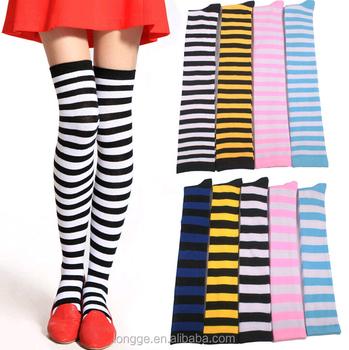 6160586f7e4e1 fashion sexy girls ladies Striped Tights Fancy Dress red white purple green  stripe Sock
