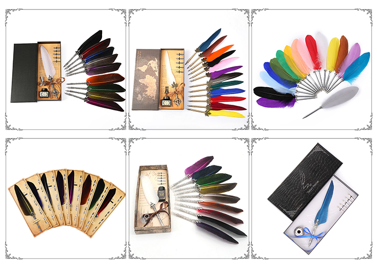 Wholesale Vintage Feathers Marriage Birthday Gift Box Crown Clams and Ink Bottle Set