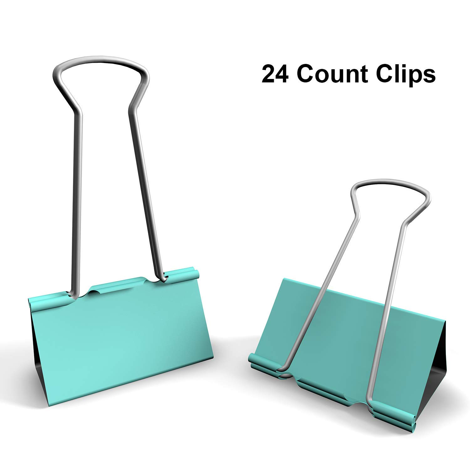 Nctinystore Light Green Binder Clips Medium of 1-1/4 inch (32mm) Colored Paper Clamp Assorted Size Assortment (Office or School Metal Fold Back Clip Metal Clips)(1.25 in/32 mm)(LightGreen, 24 - Count)