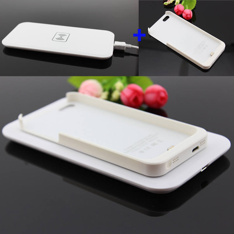 White Qi Wireless Charger Transmitter Pad Mat Plate + Qi Wireless Charging  Receiver Back Cover Power Charging For iPhone 5 5S