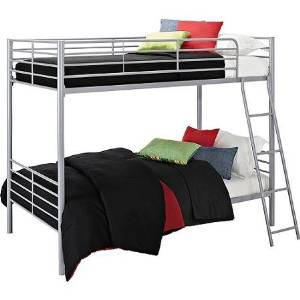 Bunk Beds Twin Over Twin Convertible Bunk Bed, Silver Metal
