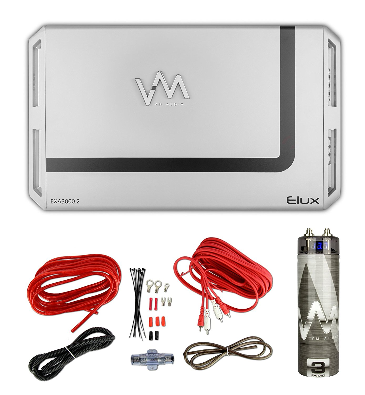 Get Quotations · VM Audio Elux 3000W 2 Channel Car Amp + Red 8 Gauge Wiring  Kit+ 3.0 Capacitor