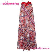 Women Double Layer Chiffon Printing Long Maxi Elastic Long Skirt