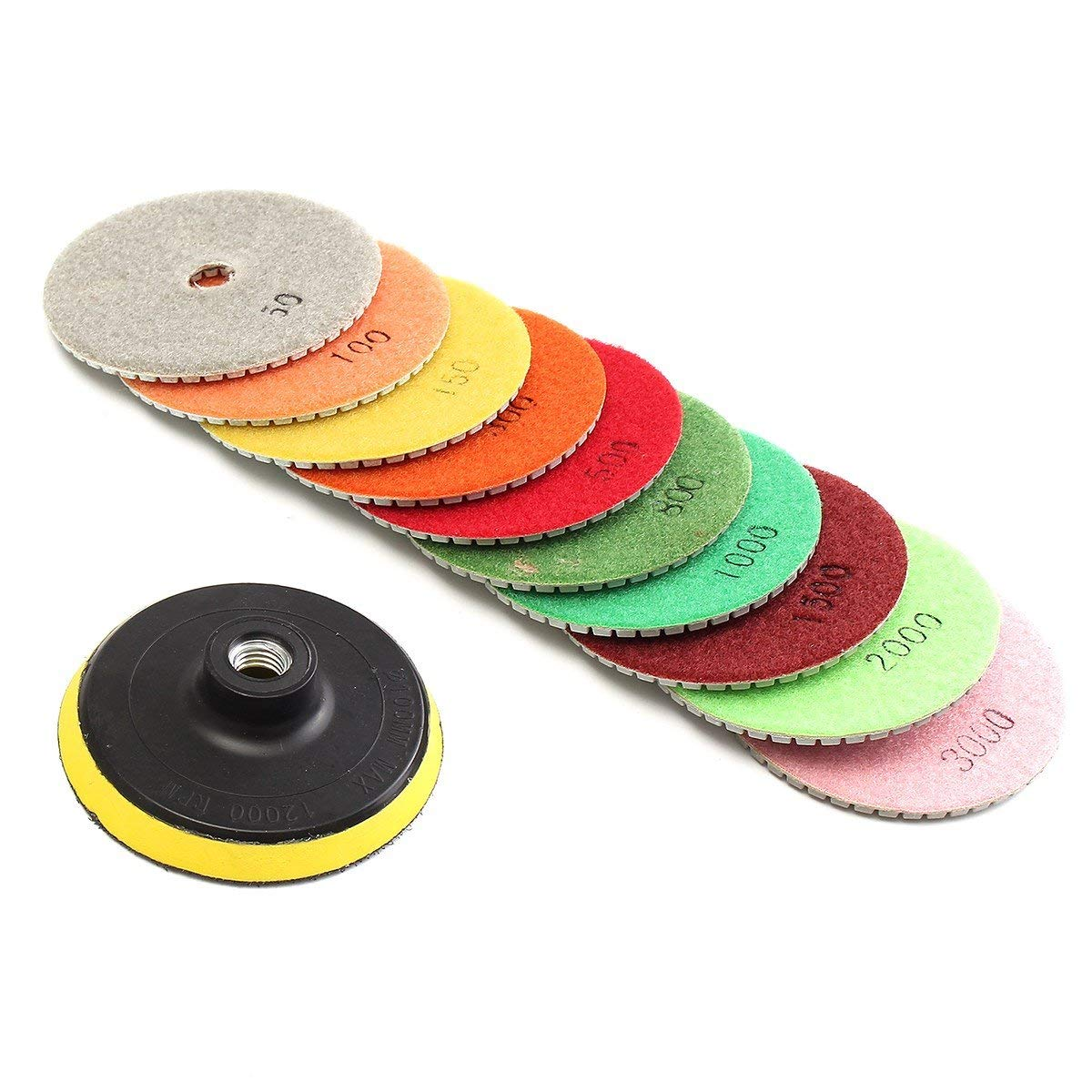 "ToolsCentre 11pcs/set 4"" Diamond Polishing Pads Grinding Disc For Granite Marble Concrete Stone For Granite Concrete Marble Stone Tiles"