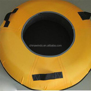cold-resistant nylon covered towable snow tube with hard bottom