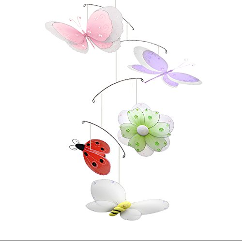 Butterfly Dragonfly Ladybug Flower Bee Multi-Layered Nylon Mesh Mobile Decorations Decorate Baby Nursery Bedroom Girls Room Ceiling Decor Birthday Party Baby Shower Crib Mobile Hanging Baby Mobile 3D