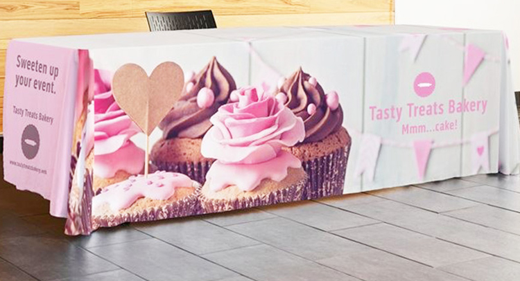 custom sublimation printed Tablecloth with logo polyester waterproof fitted stretch spandex table cover