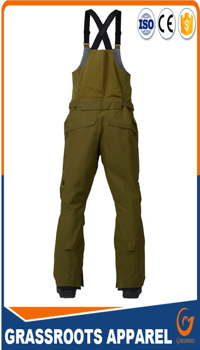 factory customize  good quality  cheaper  uniform men's green loose fit articulated knees ski bib pants