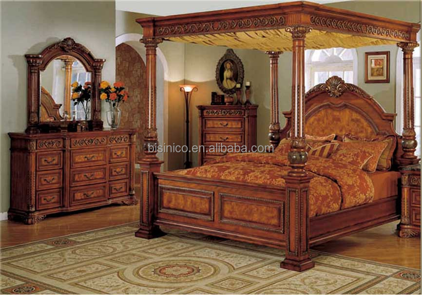Bisini Luxury Furniture Antique Bedroom Furniture King Size Double