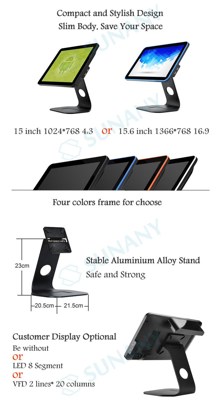 Dual screen 15.6 inch VFD monitor Android pos kassa high-class punt van verkoop voedsel markt Android pos machine hardware