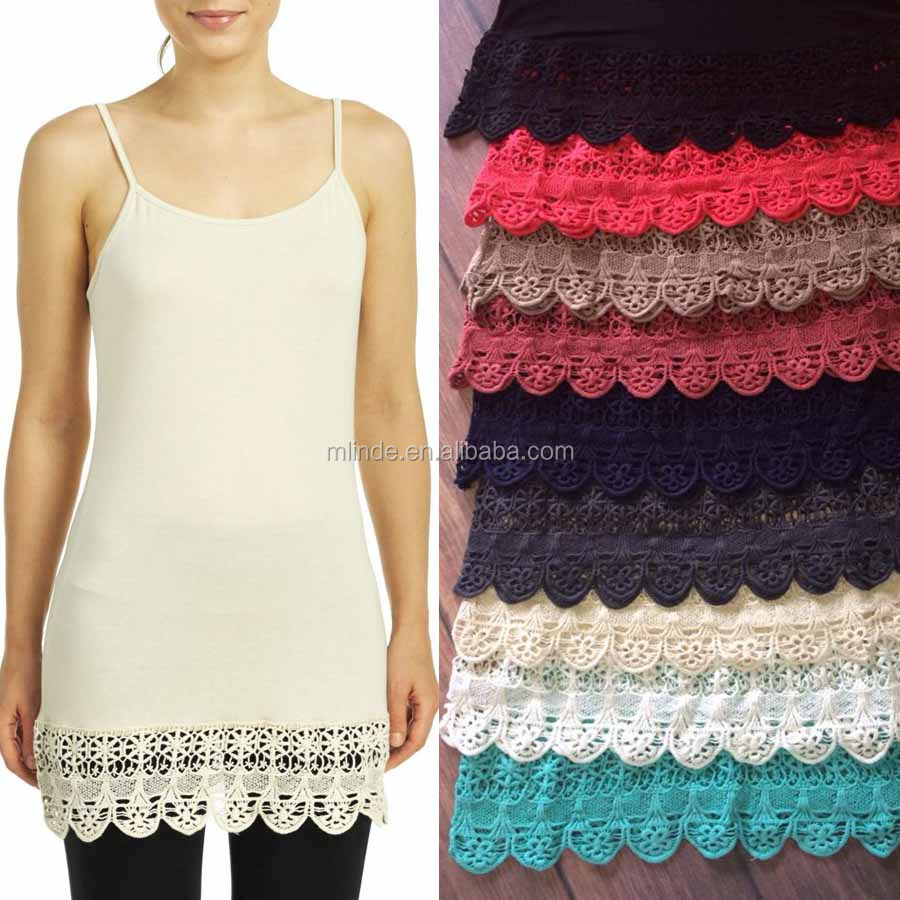 OEM Lace Crochet Hem Top Extender 95% Rayon/5% Spandex Adjustable Lace Crochet Cami Extender