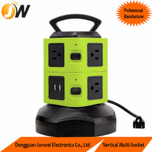 Donguan Factory Two Layer Green Power Strip Socket with 6.5 feet Cord
