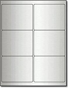 "4"" x 3 1/3"" Silver Foil Labels for Laser Printers - 60 Labels"