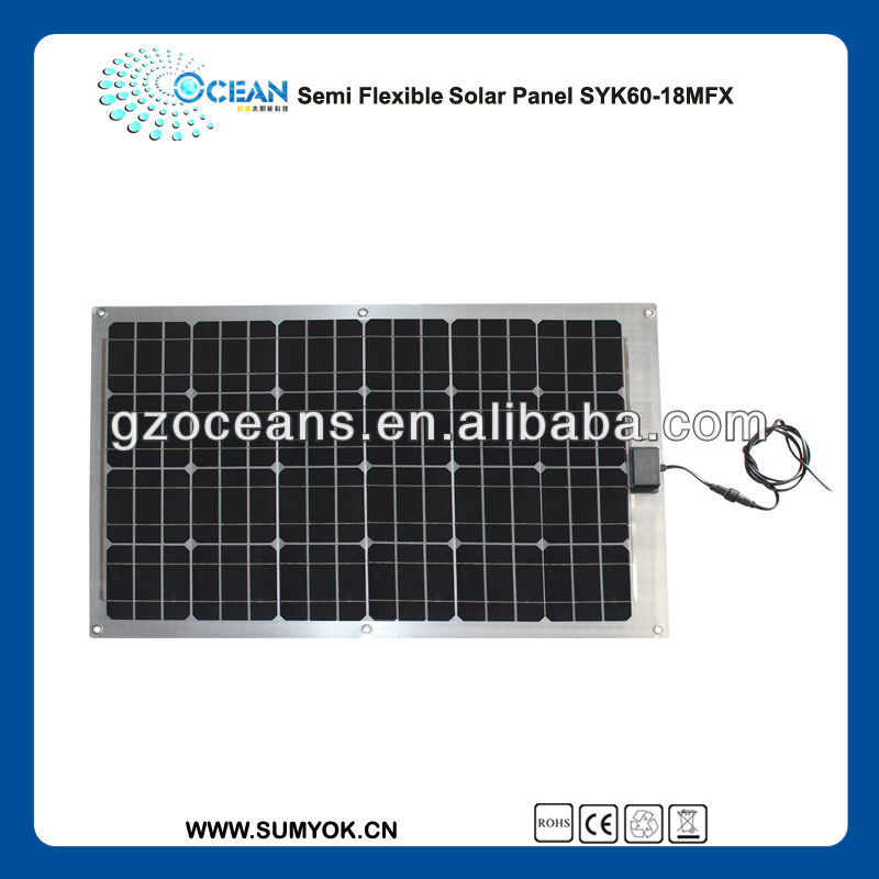 semi flexbile 60W with solar cell panel with high efficiency solar cell guangzhou manufacturer