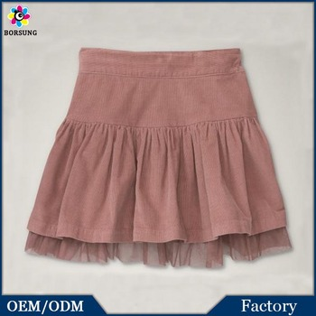 Children Frocks Designs Pink Fashion Kids Super Mini Skirts Hot Children Girls Wearing Corduroy Tulle Mini Skirt