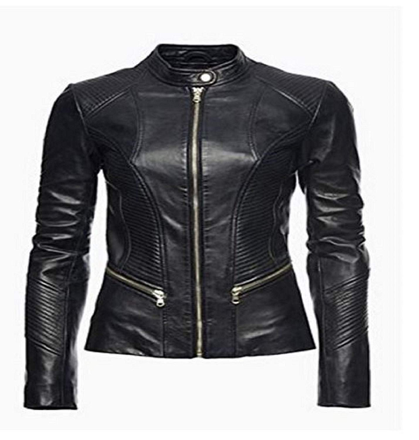 Leather Skin Design Womens Pure 100% Lambskin Leather Solid Biker Leather Jacket
