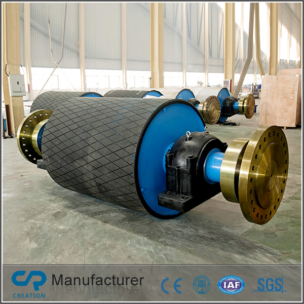 Creation driving pulley with herringbone grooved lagging used for conveyor system