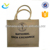 Natural printed recycled personalized jute tote fabric shopping bag with wooden handle