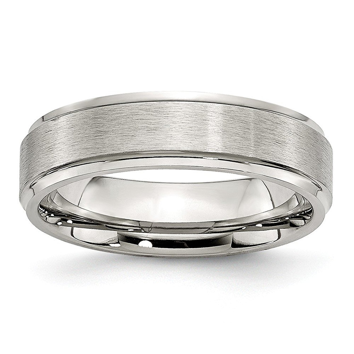 Best Quality Free Gift Box Titanium Grooved 8mm Brushed And Polished Band