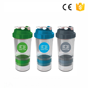 2018 promotional sport protein shaker 6000ml plastic shaker bottle 500ml portable mixing cup fruit juice shaker