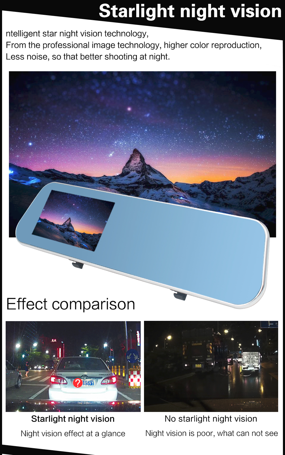 9075 Double lens 1080P Starlight Night Vision Car Camera
