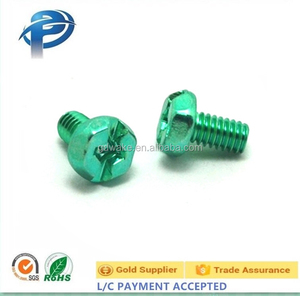 Carbon steel flange phillips head green plating machine screws, Hex Head Compound Slotted Drive Green Zinc Plated Machine Screws
