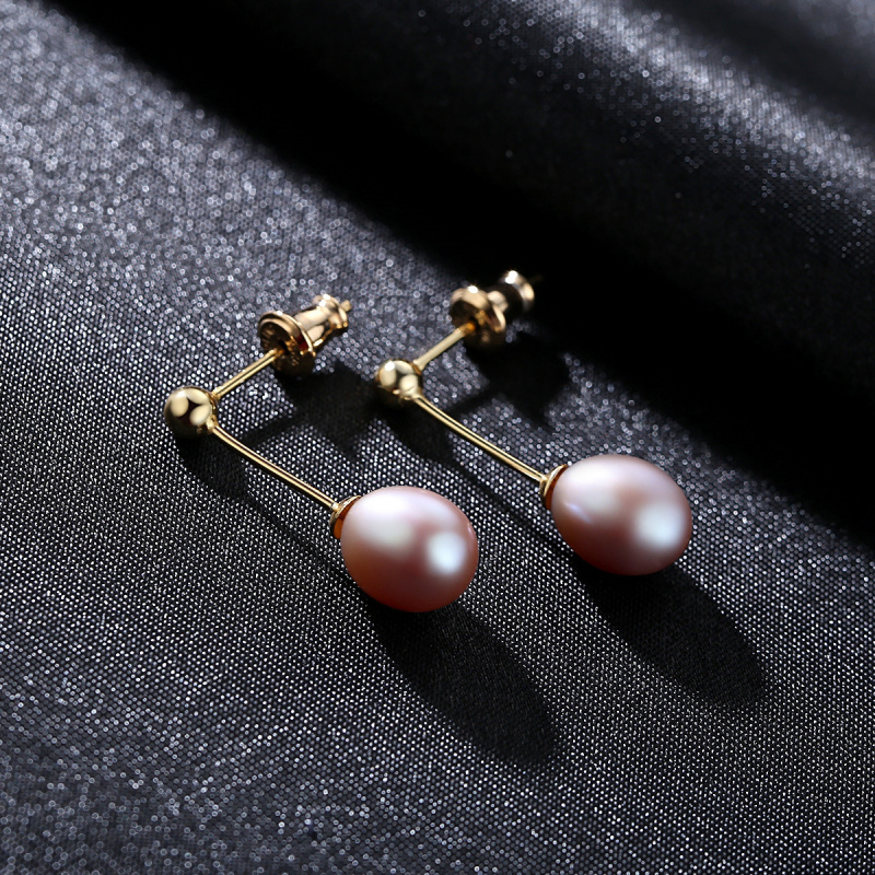 Classic Simple Design 925 Sterling Silver Natural Rice Freshwater Pearl Stud Earrings For Women New Year Gift JPSE003