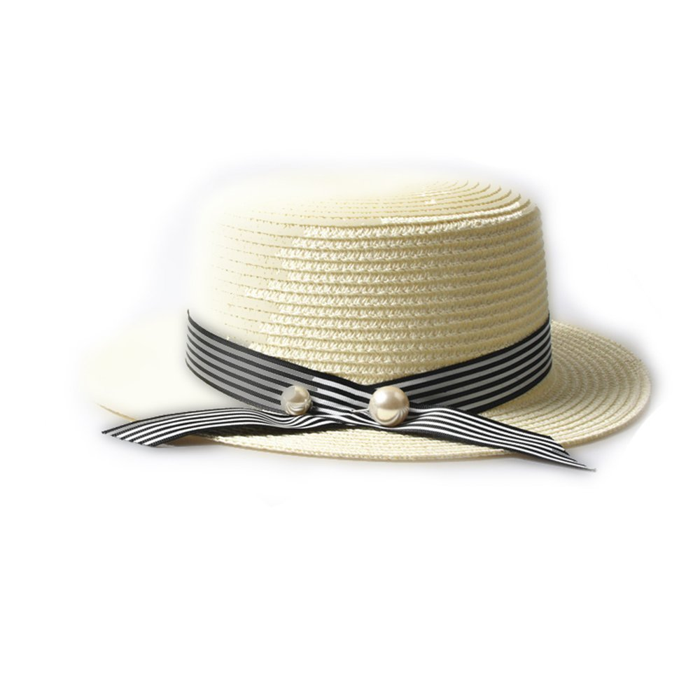 6cbb1286d49 Get Quotations · LOVEHATS Women Straw Hat Lady Boater Sun Caps Ribbon Round  Flat Top Straw Beach Hat Panama