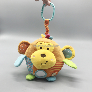 Customized baby serious plush stuffed monkey ball with clip and mirror