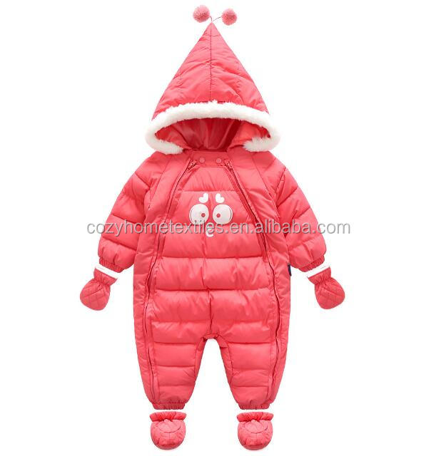 2017 Hot Sale Infant Warm winter coat playsuit Latest design style wholesale Detachable Hood Duck Down Newborn Baby Snowsuit