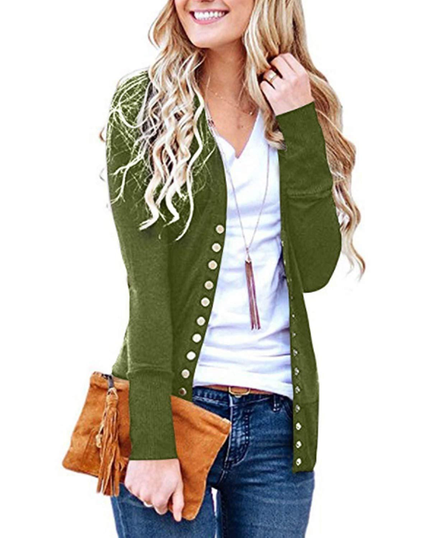 ad4d58e426 Get Quotations · SHETAO Women s V-Neck Button Down Knitwear Long Sleeve  Soft Basic Knit Snap Cardigan Sweater