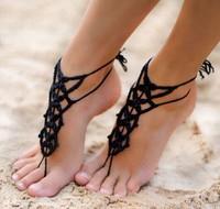 Handmade Women Crochet Infinity Barefoot Sandals Foot Jewelry Anklet Bracelet