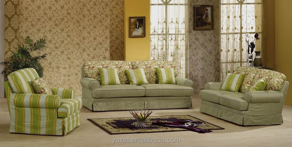 Special Design Country Style Fabric Flower Sectional Sofa Chesterfield Set