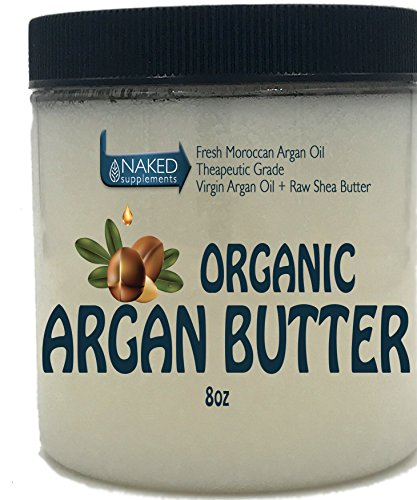 Organic, Virgin ARGAN BUTTER_8 oz_ 2 Ingredients_Organic Argan Oil & Raw Shea Butter_Hair, Skin, Anti-Aging, Moisturizing, Fast Absorbing (8 oz)