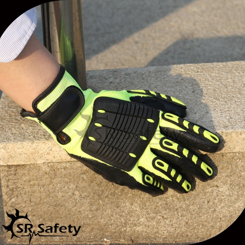 SRSAFETY TPR mechanic gloves with sandy finish nitrile coated