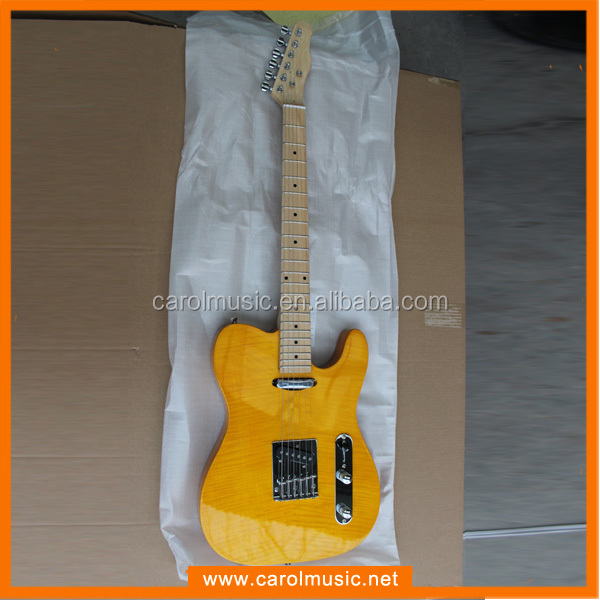 Cheap Custom Guitar With Flamed Maple Top /Yellow Color Electric Guitar