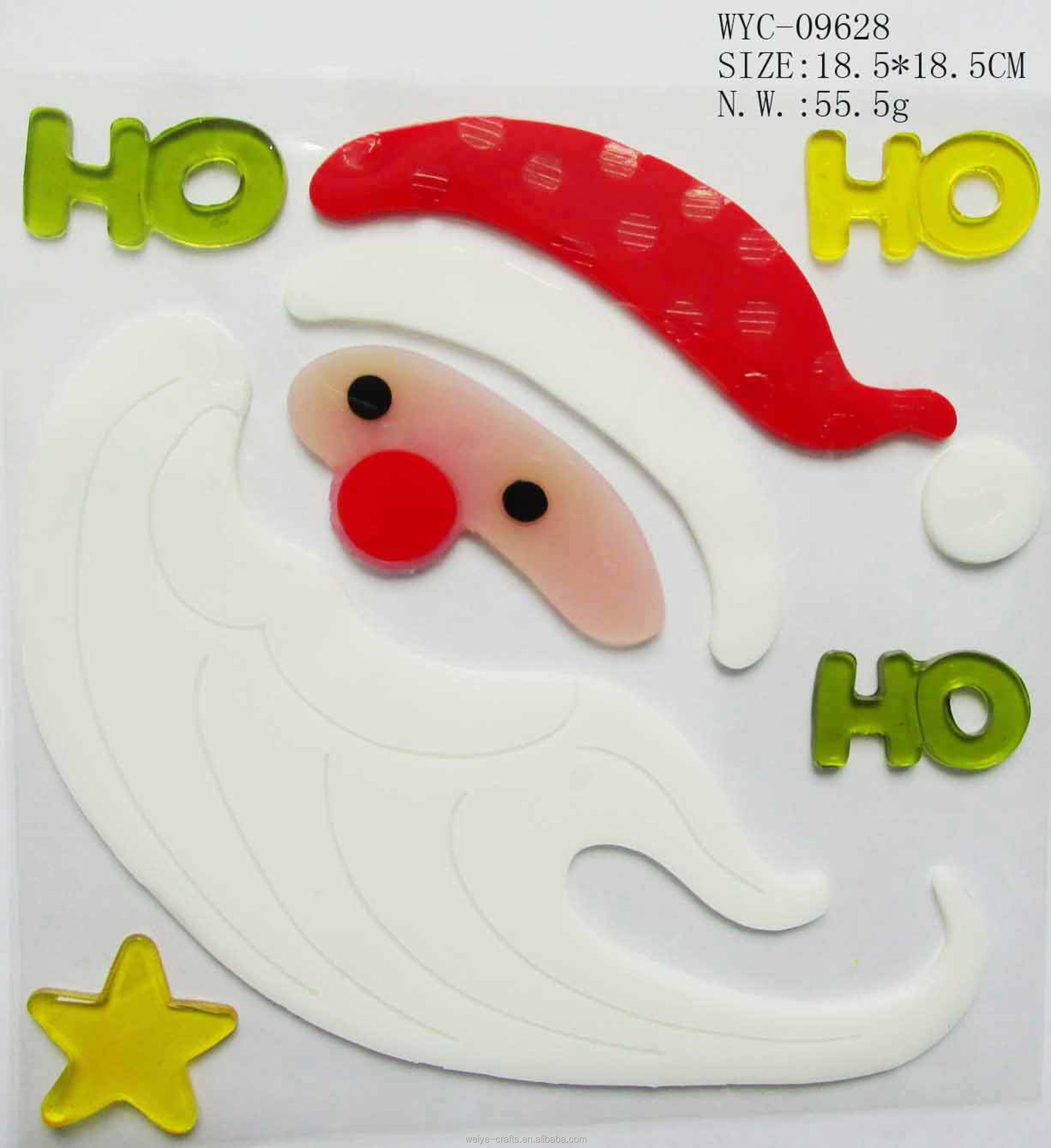 Santa clause jelly stickers christmas cute decorative gel clings window sticker
