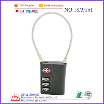 Factory License 3 dial approved luggage logo TSA cable locks
