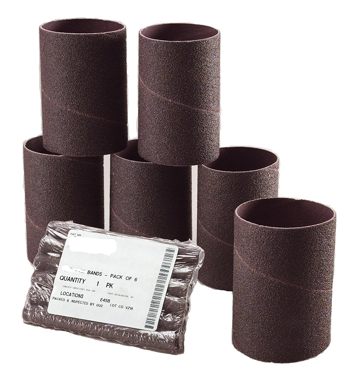 Sungold Abrasives 454078 Spiral Bands Sanding Sleeves 2-Inch by 5-5/8-Inch 100 Grit Alumium Oxide Cloth, 6-Pack